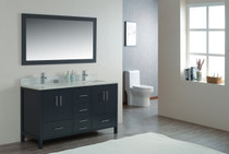 "Mackenzie 60"" Bathroom Double Sink Vanity Satin Grey"