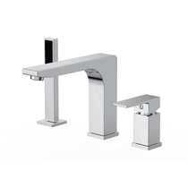 Modern Roman Bath Brass Deck Mount Faucet With Hand Shower 3-Hole Tub
