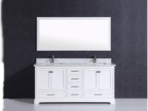 "Bayview 60"" White Double Sink Bathroom Vanity"