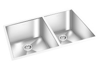 "GEM DOUBLE KITCHEN SQUARE SINK UNDERMOUNT 33"" x 20"""