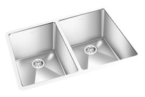 "GEM DOUBLE KITCHEN ROUND CORNER SINK UNDERMOUNT 29"" x 19"""