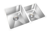 "GEM DOUBLE KITCHEN ROUND CORNER SINK UNDERMOUNT 27"" x 20"""