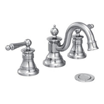 Moen Waterhill Two-Handle High Arc Bathroom Faucet Chrome Finish