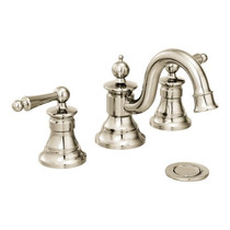 Moen Waterhill Two-Handle High Arc Bathroom Faucet Polished Nickel Finish