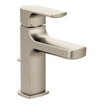 Moen Rizon Chrome One-Handle Low Arc Bathroom Faucet Brushed Nickel Finish