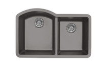 "Karran Double Bowl Undermount Kitchen Sink Concrete Finish 32""x 21"""
