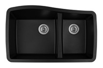 "Karren Double Bowl Undermount Kitchen Sink Black Finish 33-1/2"" x 20-5/8"""