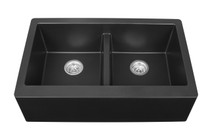 "Karran Double Equal Bowl Apron Front Kitchen Sink Black Finish 34"" x 21-1/4"""