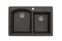 "Karran Double Bowl Top Mount Kitchen Sink Brown Finish 33"" x 22"""