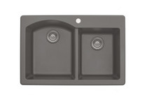 "Karran Double Bowl Top Mount Kitchen Sink Concrete Finish 33"" x 22"""