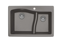 "Karran Double Bowl Top Mount Kitchen Sink Concrete Finish 33"" x 22""  QT-630"
