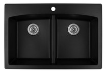 "Karran Double Equal Bowl Top Mount Kitchen Sink Black Finish 33""x 22"""