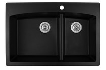 "Karran Double Bowl Top Mount Kitchen Sink Black Finish 33"" x 22"" QT-711"