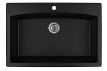 "Karran Extra Large Single Bowl Top Mount Kitchen Sink Black Finish 33""x 22"" QT-712"
