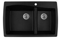 "Karran Double Bowl Top Mount Kitchen Sink Black Finish 34"" x 22"""