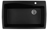 """Karran Extra Large Single Bowl Top Mount Kitchen Sink Black Finish 34""""x 22"""""""