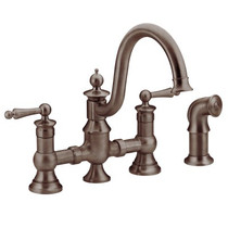 Moen Waterhill Two-Handle High Arc Kitchen Faucet Oil Rubbed Bronze Finish