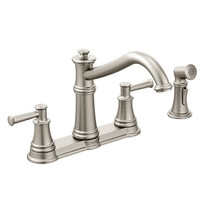 Moen Belfield Two-Handle High Arc Kitchen Faucet With Side Spray Spot Resist Stainless Finish