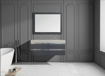 "Richmond 60"" Wall Mount Bathroom Vanity  Ice Grey"