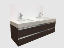 "Richmond 60"" Wall Mount Bathroom Vanity  Espresso"