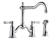 Brizo Tresa two handle bridge with spray kitchen faucet Chrome