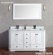 "Annabelle 60"" Bathroom Vanity White"