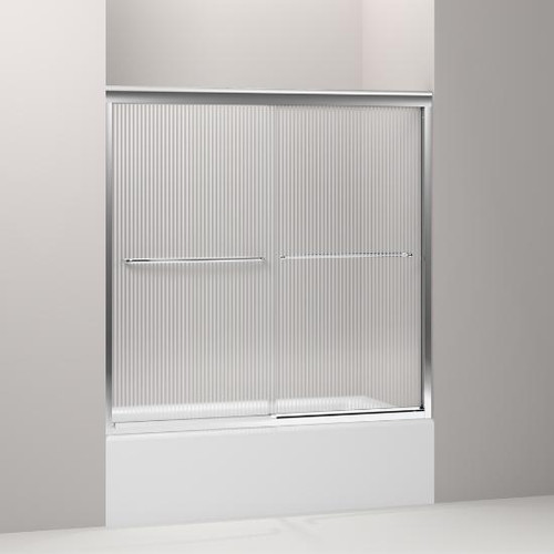 "Fluence® sliding bath door, 58-5/16"" H x 56-5/8 - 59-5/8"" W, with 1/4"" thick Falling Lines glass - K-702200-G54"