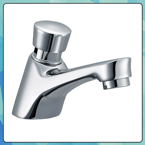 Flow Push Down Quick Commercial Bathroom Faucet Chrome - York Taps