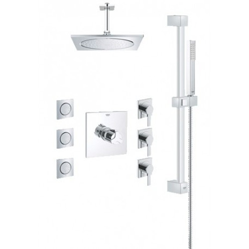 Grohe 117163 Square THM Custom Shower Kit with Body Sprays in Starlight Chrome