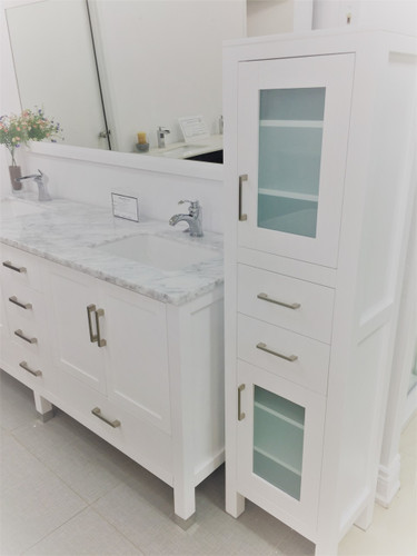 """Armada 60"""" Side Linen Cabinet Tower White"""
