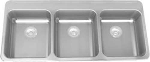 Kindred LBT6407CB-1/3 Triple Compartment Drop-in Commercial Sink in Stainless Steel, 3 Hole