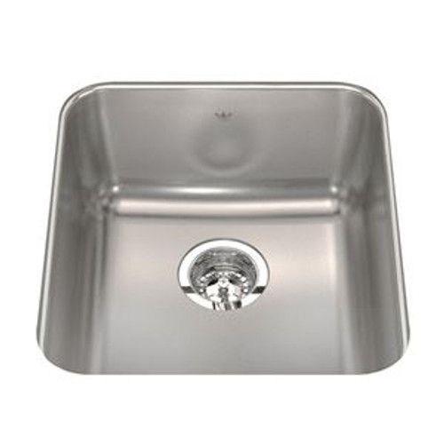 "Kindred QSUA1917/8 17"" Single Bowl Stainless Steel Undermount Bar / Prep Sink in Stainless Steel"