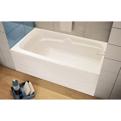 Maax Bath Avenue 6030 fibreglass Right Drain Alcove Rectangular Bathtub, White