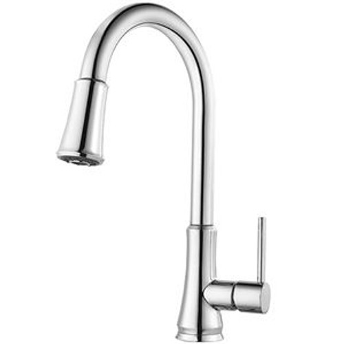 Pfister G529-PF1S Pfirst Metal 1-Lever Handle Pulldown Spray Kitchen Faucet, Stainless Steel