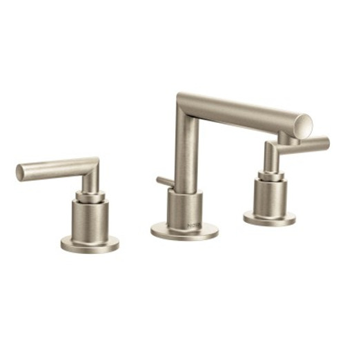 Moen Arris Chrome TwoHandle Low Arc Bathroom Faucet Brushed Nickel - Nickel finish bathroom faucets