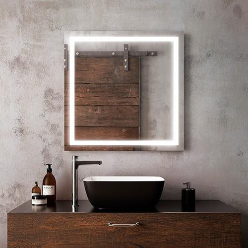 "Kalia Effect Square Illuminated LED Mirror 30"" x 30"""