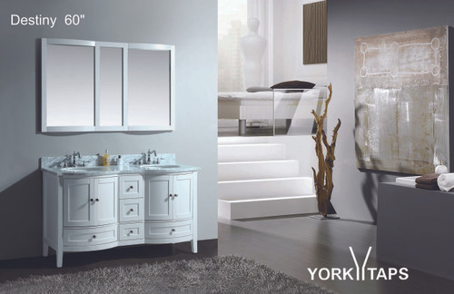 "Destiny 60"" Double Sink Bathroom Vanity White"