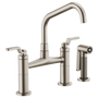 Brizo LITZE™ BRIDGE FAUCET WITH ANGLED SPOUT AND INDUSTRIAL HANDLE Stainless Steel