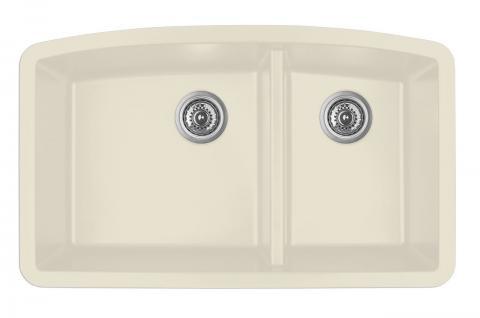 Karran Double Bowl Undermount Kitchen Sink Bisque Finish 32 1 2 X