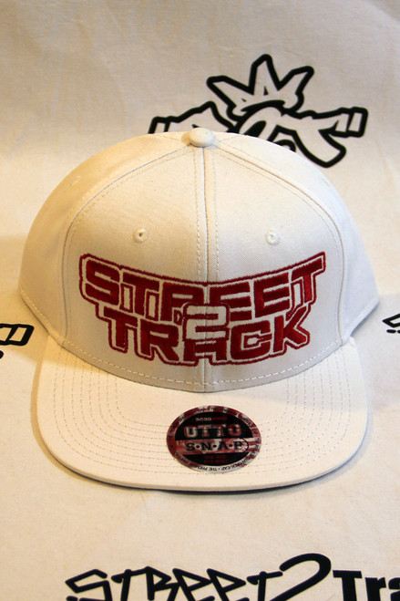 Street2Track White Snap Back with Red logo