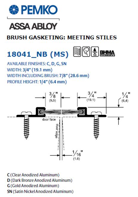 Pemko Meeting Brush Astragal (18041)  sc 1 st  Best Door Hardware & Pemko 18041 Meeting Brush Astragal Best Door Hardware