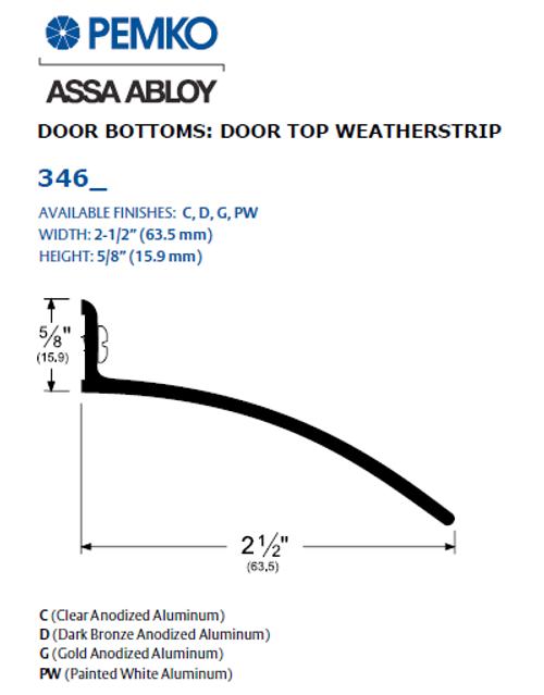 Pemko 346 - Door Top Weatherstrip (Drip Cap)  sc 1 st  Best Door Hardware & Pemko 346 Door Top Weatherstrip Drip Cap Best Door Hardware