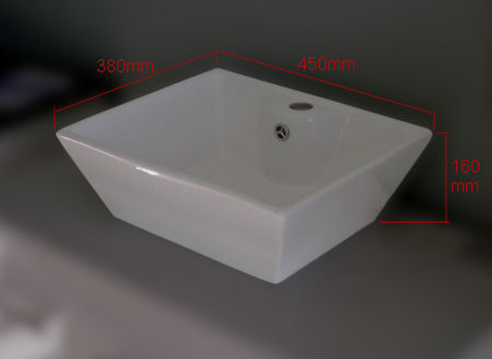 Trapezium Ceramic Bench Top Basin with One Tap Hole D233