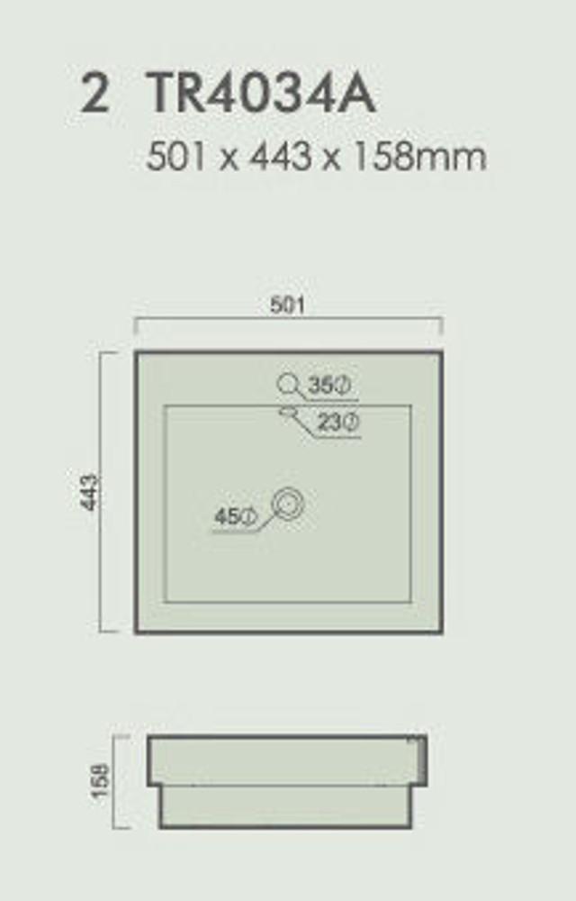 Square Semi Inset & Drop In Basin 4034A