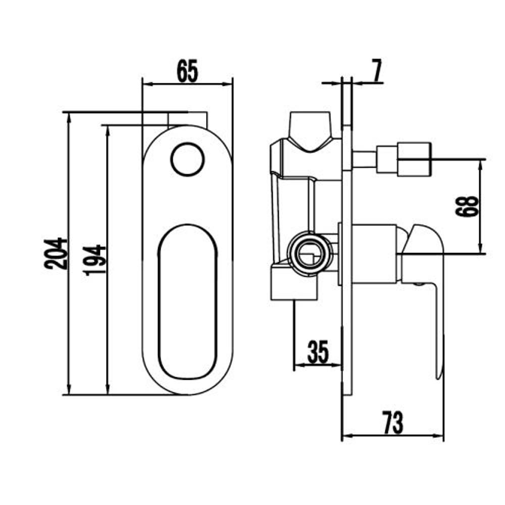 ikon Kara Wall Diverter Mixer Tap - Shower / Bath - Matt Black