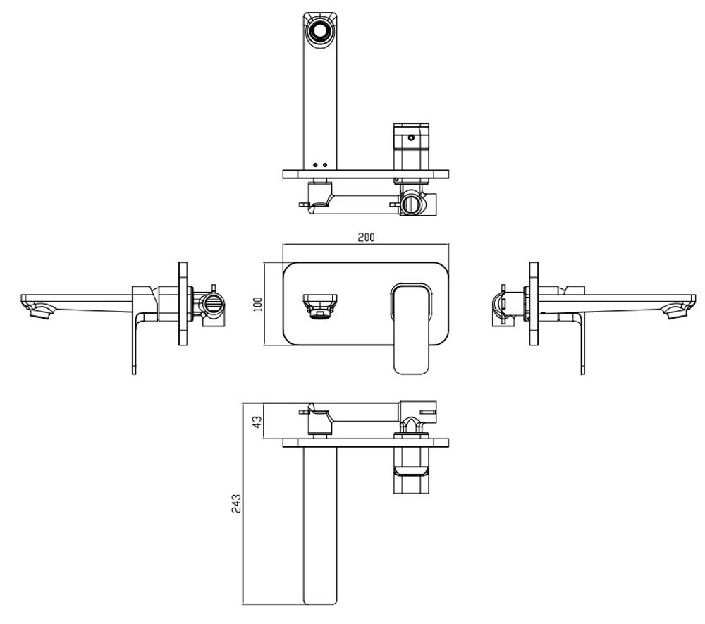 ikon SETO Wall Mixer and Spout Combination Unit - Matt Black