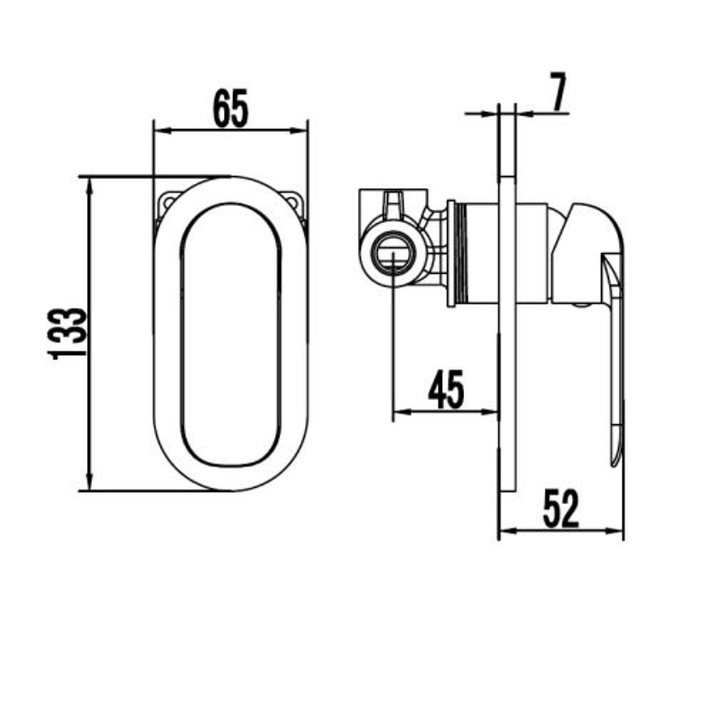 ikon KARA Wall Mixer Tap - Shower / Bath Chrome, White, Black & Black with Rose Gold Handle