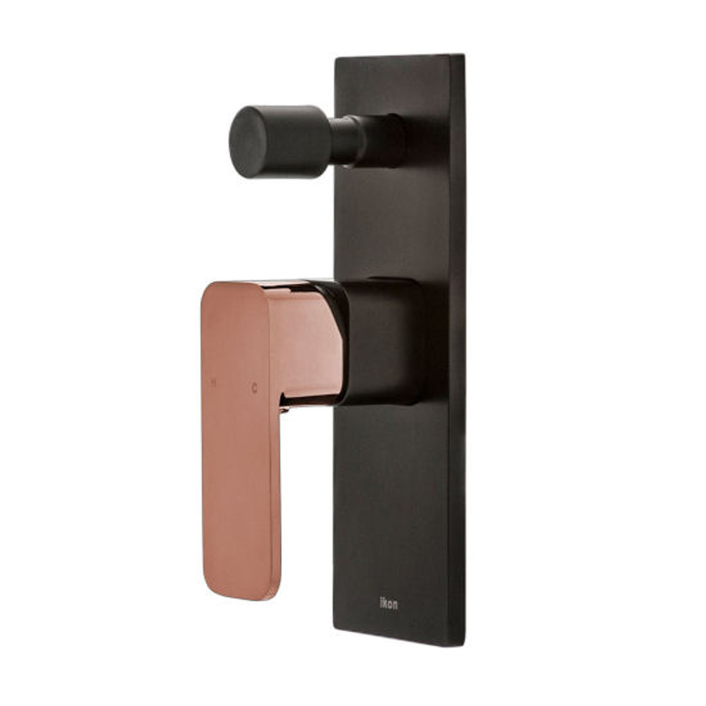 ikon SETO Wall Diverter Mixer Tap - Shower / Bath - Black & Rose Gold