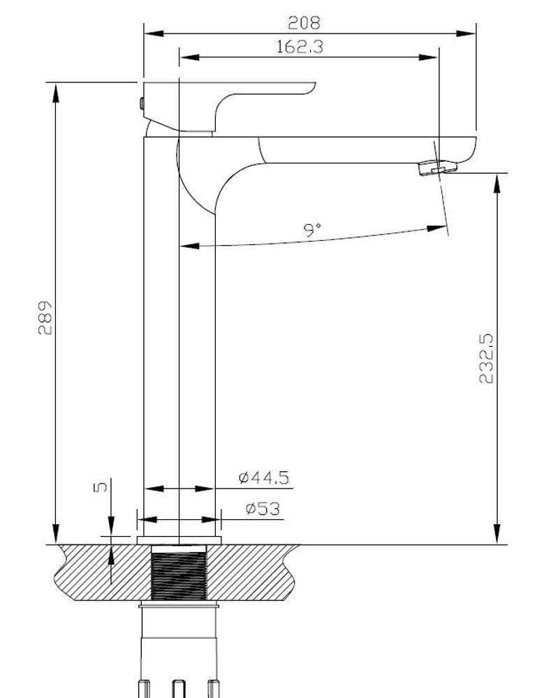 Normandy ETHAN Basin Tower Mixer Tap - Matt Black