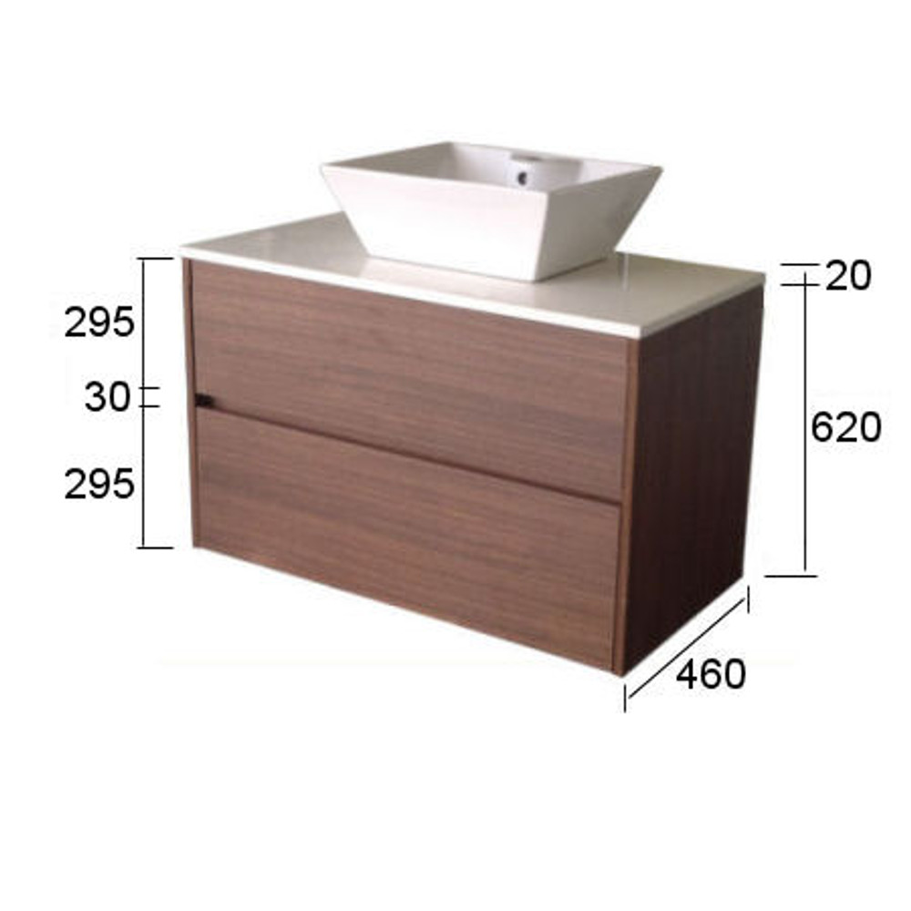 Chiron SIX Vanity with Stone Bench & Undermount Basin 750mm Wall Mounted HA